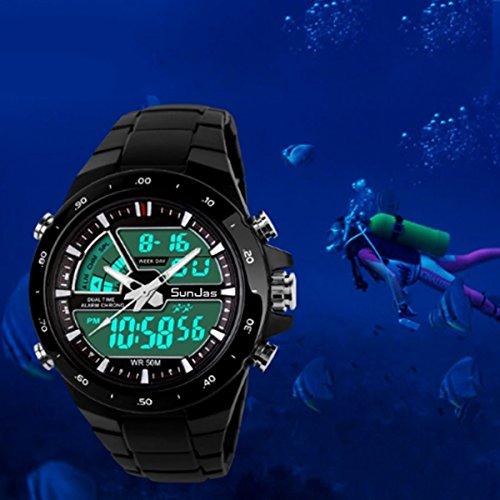 Sunjas Reloj Desmontable Hombres Agua Luces Resistente Con Contra Pulsera Banda Multifunciones Deportivo Deportes Digital Para De 50m kn8X0wPO
