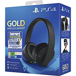 Sony Gold Black Wireless 7.1 Gaming Headset – Fortnite Neo Versa Bundle PS4 [