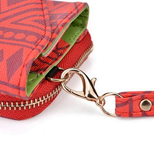 Kroo Pochette/étui style tribal urbain pour ZTE Nubia Z7/Grand S3 Multicolore - bleu marine Multicolore - rouge