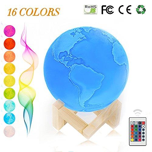 Globus-Lampe,Erde-Nachtlicht,USB 3D LED Planet-Licht mittels,Fernbedienung Control,16 Hauptfarben,9 verschiedene Intensitäten einstellbar,Geschenk(15cm/5.9inch)