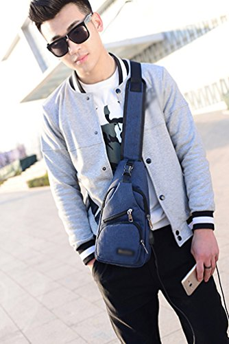 YOUJIA Sling Rucksack mit USB-Batterieladung-Anschluss Crossbody Canvas Brusttasche für Männer Damen Leichte Wandern Reise Rucksack (#1 Schwarz) #1 Dunkel Blau