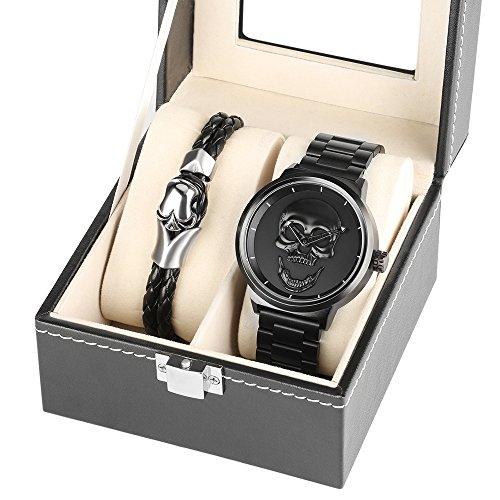 Herren, Schwarz, groß, Armband mit 3d Totenkopf Edelstahl 30m, wasserdicht, mit Luxus-Mesh-Armbanduhr für Herren