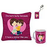 #9: Sky Trends Gift For Rakshabandhan   Rakhi Gift For Sister And Brother   Rakhi Gift For Sister   Gift For Sister   Rakhi Gift   Rakshabandhan Gift Ideas   Online Rakhi Gifts  Printed Cushion with Filler, Coffee Mug, Keychain -017