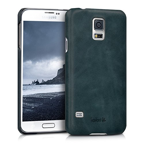 kalibri-Echtleder-Backcover-Hlle-fr-Samsung-Galaxy-S5-S5-Neo-S5-Duos-Leder-Case-Cover-Schutzhlle-in-Dunkelblau