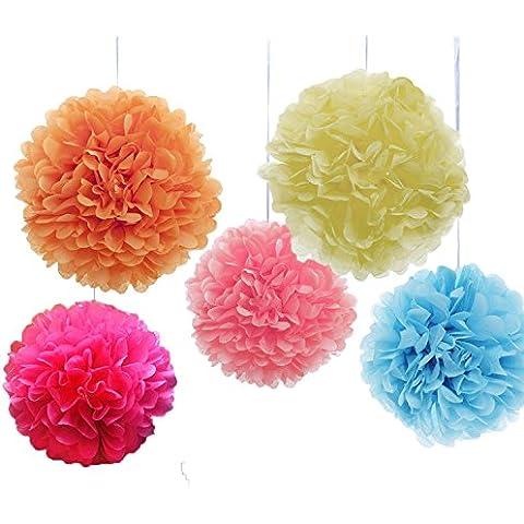 Goodlucky365 (10 pcs) 10 Pulgadas y 12 Pulgadas Bola de Flor de Pompones del Papel de Seda Decoración Para Bodas y Fiestas, Color Rosa, Rosy Rojo, Azul, Naranja,