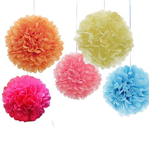Goodlucky365 10 Pezzi 10, 12 Pollici Pompon in Carta Velina Decorativo Palla Fiore Per Matrimonio, Compleanno Pompon Decorativo