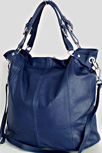 Shopper in pelle XL , spalla borsa con zip (DIN A4) Italia (MOD 2008-p) blue
