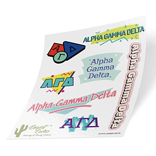 Alpha Gamma Delta 90er Jahre Aufkleber Sticker Blatt Laptop Wasserflasche Auto (komplettes Blatt - 90's) - Geschenke Delta Sorority Delta Delta