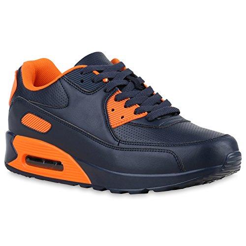 Herren Sportschuhe Leder-Optik | Sneakers Velours Glitzer | Metallic Runners | Freizeitschuhe Schnürer Dark Blue Neonorange