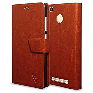 Ceego Flip Cover for Xiaomi Redmi 3S Prime [Ultra Compact with Magnetic Lock] – XpressGo Series - Xiaomi Redmi 3S Prime (with Finger Print Sensor) Flip Case (Vintage Brown)