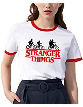 Shirt Ringer Stranger Things per Donna Best Friend T-Shirt BFF Stampa Manica Corta Maglietta Migliori Amiche Bianco...