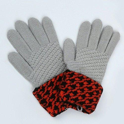 DHG Warme Handschuhe Damen gestrickte Handschuhe Winter Handschuhe drehen Handschuhe,Asche,F