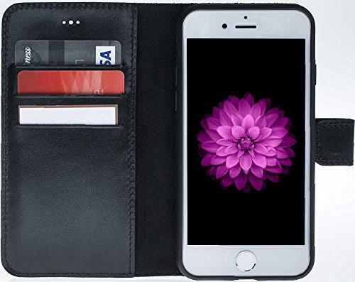 Solo Pelle Iphone 7 / 8 abnehmbare Lederhülle (2in1) inkl. Kartenfächer für das original Iphone 7 / 8 ( Kroko-Rot ohne Öffnung für das Apple Logo ) inkl. Edler Geschenkverpackung Schwarz