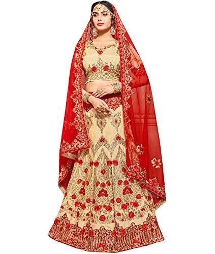 Indian Ethnicwear Bollywood Pakistani Wedding Cream A-Line Lehenga Semi-stitched-ROY26852