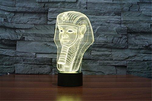LOTOS® Colorful Effet d'éclairage étonnant pharaon égyptien tactile commutateur Art Sculpture Décoration Night Light Lampe de bureau