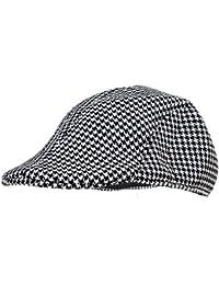SODIAL(R) Mens Tweed Wool Herringbone Flat Cap Peak Hat with Quilted Lining - Black & White
