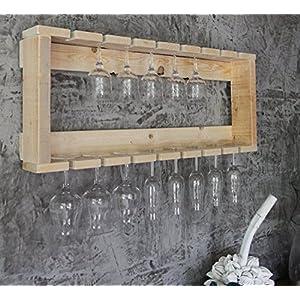 Holz Gläser Regal passend zum Wein Regal fertig montiert Natur