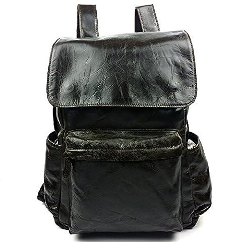 LQT Rucksack Tasche Schulter Tasche aus Leinwand und Vintage Leder Tasche für Reise Schule randonné café (Leinwand Porte)
