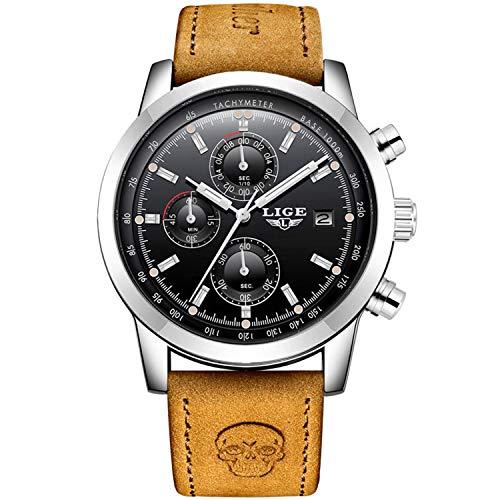 Quarz Sport Uhren,Herren Uhr Analog Quarz mit Leder Armband 9859PH