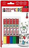 Marabu 0125000000083 - Porcelain und Glas Painter Kids Set Maxi Fun, Porzellanmalstifte für Kinder 5er Set, spülmaschinenfest nach Einbrennen, Universalspitze 1 - 3 mm