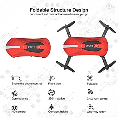 JD-018 Selfie Foldable RC Drone with Camera Live Transmission Wifi FPV APP Control Hover Auto Hover G-Sensor 3D Flip Headless Mode Quadrocopter, 2 Batteries