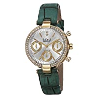 Burgi Women's Bur129Gn Diamond & Crystal Accented Multifunction Yellow Gold and Turquoise Leather Strap Watch, Green Band, Analog Display
