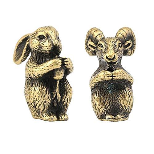 WDDqzf ornament Skulptur Figur 2 Stücke Home Hotel Massage Räucherstäbchenhalter Chinese Zodiac Shengxiao Tier Kaninchen Ziege Figur Ornamente (Reiner Messing, Einlochmontage In 0,2 cm)