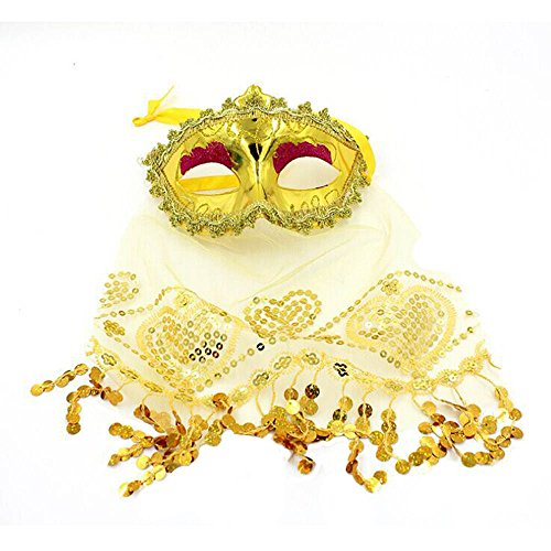 Lonshell Tanzparty Maske Bauchtanz Show Zubehör Tanzmaske Pailletten Maske mit Mysterious Schleier Frauen Fancy Ball Eyemask Cosplay Kostüm für Maskerade Masquerade Karneval (Gold) (Tanz Sieben Schleier Kostüm)