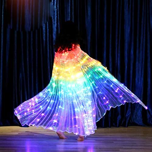 Dasongff Kinder LED Isis Flügel Tanzen Artikel Mit Stöcke/Stangen Engelsflügel Leistung Kostüm Schleier Flügel Schleier Fasching Karneval Mehrfarbig ägyptisches Tanzkostüm-Zubehör