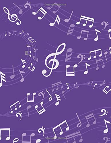 Music Composition Notebook: Purple Musical Notes Music Manuscript Notebook with Staff Paper  - Blank Sheet Music Notebook - Music Journal - Christmas, ... Songwriters, Teachers  (120 Pages 8.5 x 11)