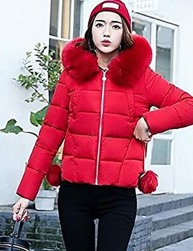 TT & ShangYi corto acolchado de mujer, Abrigo Simple Tallas Fuertes liso algodón polipropileno manga larga, Gris...