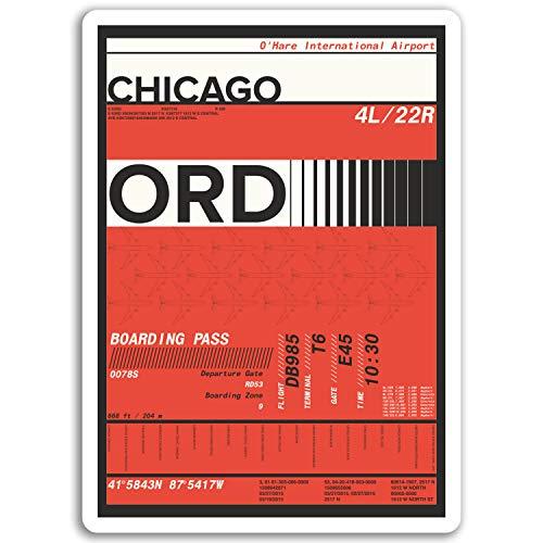 DestinationVinyl 2 x 10 cm O'Hare Airport Vinyl Aufkleber - Chicago Aufkleber Laptop Gepäck # 17134 (10 cm groß) - Chicago Ohare Airport