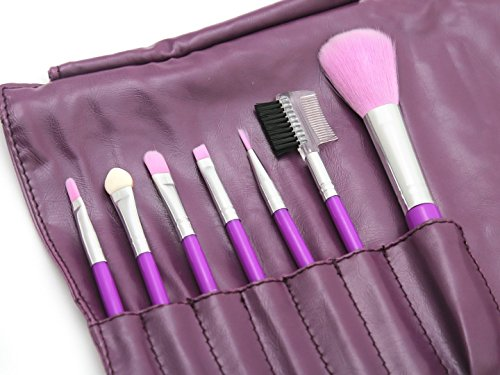 7 Pieces Makeup Brush Setwith Leather Pouch, Complete Makeup Brush Kit Cosmetic Tool Beauty Brush-Random Color