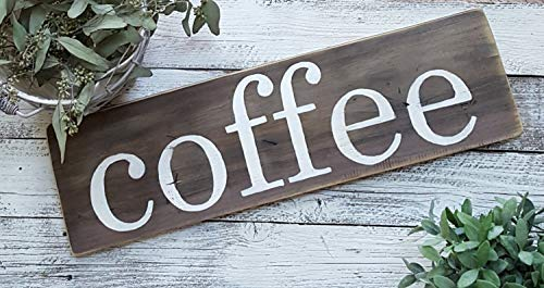 Zhaoshoping Kaffeeschild Coffee Bar Dekor Küche Dekor Küche Schilder Cottage Chic Schilder rustikale Schilder Custom Schilder Custom Schilder Holz Schild Home Decor Wall Art Room Garden Sign - Art Cottage Dekor