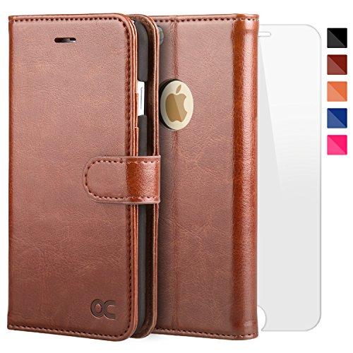 OCASE iPhone 6 Hülle Handyhülle iPhone 6S [ Gratis Panzerglas Schutzfolie ] [Premium Leder] [Standfunktion] [Kartenfach] [Magnetverschluss] Schlanke Leder Brieftasche für Apple iPhone 6/6S Braun