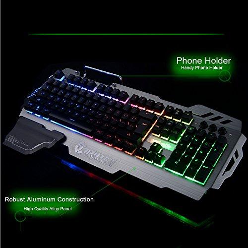 Normia Rita 104 klicken Mechanische Spiel Tastatur, Hintergrundbeleuchtung RGB LED Gaming-Tastatur, Beleuchtete Mechanical Keyboard mit Handy Halter - Aluminum Metall GunMetal Grau - 4