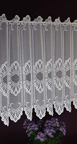 Albani - tenda a pannello su misura, in tessuto jacquard, stile rustico, altezza 60 cm, larghezza 10 cm, con passanti a scelta, colore: bianco