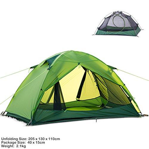 Naturehike Ultralight 2Person 3Saison Rucksackreisen Zelt für Camping, Silikon beschichtet leicht wasserdicht Zwei Türen Double Layer UV mit Aluminium-Ruten für Outdoor Family Beach Jagd Wandern, Herren, grün, 205 x 130 x 110 cm Sport Thema Fenster Vorhänge