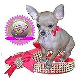 XS Herzle mit schleife pink Chihuahua Strass Halsband Hunde Halsband