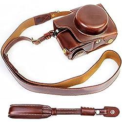 First2savvv XJD-EM10II-HD10 brun foncé Qualité supérieure PU cuir étui housse appareil photo numérique pour Olympus OM-D E-M10 Mark 2. EM10 Mark II avec 14-42mm lens + brun foncé Bandoulière