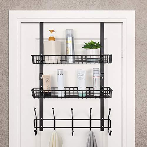 Nandae Türregal Hängeregal ohne Bohren mit 5 Haken & 2 Mesh Körbe für Badezimmer Küche, Dunkelbraun