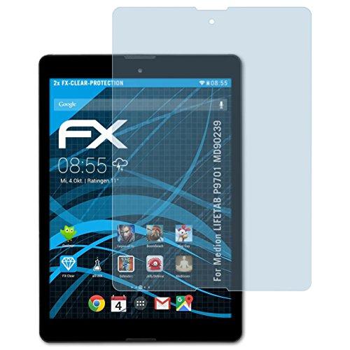 atFolix Schutzfolie kompatibel mit Medion LIFETAB P9701 MD90239 Folie, ultraklare FX Bildschirmschutzfolie (2X)
