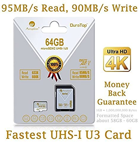64GB Micro SDXC U3 Card Plus SD Adapter Pack. Amplim