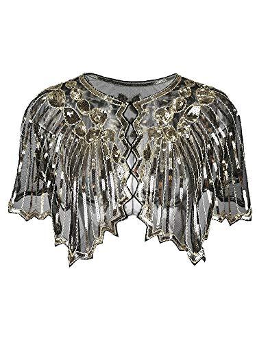 Grouptap 1920er Jahre Gatsby Schal Bolero Pailletten Cape Achselzucken Wrap für goldene Frauen Damen Flapper Art Deco Vintage Kleid Kostüm (Gold, Einheitsgröße)