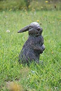 PERFECT PLANTS Bunny Kaninchen Gusseisen Garten Statue mit Aged Bronze Finish