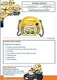 Lexibook Universal Moi, Moche et Méchant Minions Lecteur CD pour enfant avec 2 microphones jouets, prise écouteurs, à piles, Jaune, RCDK100DES