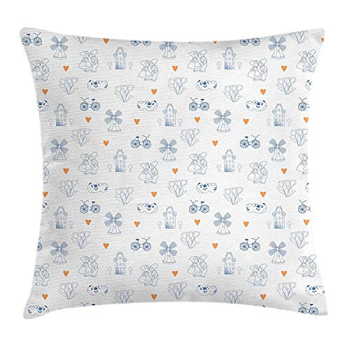 LULABE Dutch Throw Pillow Cushion Cover, Traditional Holland Culture Elements with Doodle Style Clogs Bicycles, Decorative Square Accent Pillow Case, 18 X 18 inches, Orange Navy Blue and White