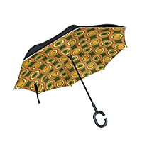 FOLPPLY Inverted Umbrella Round Geometric Pattern,Double Layer Reverse Umbrella Waterproof for Car Rain Outdoor with C-Shaped Handle