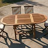 M-029 Gartentisch, oval, aus Holz, ausziehbar