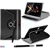 """SONY Tablet S 9.4"""" Inch BLACK 360 Degree Rotating Tablet Case PU Leather Flip Wallet Spring Stand Case Cover + 2 in 1 Ball Pen Touch Stylus Pen (SHK10) SVL107 BY SHUKAN®, (BLACK)"""